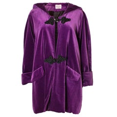 Vintage Purple Velvet Hooded Jacket by Maribou London