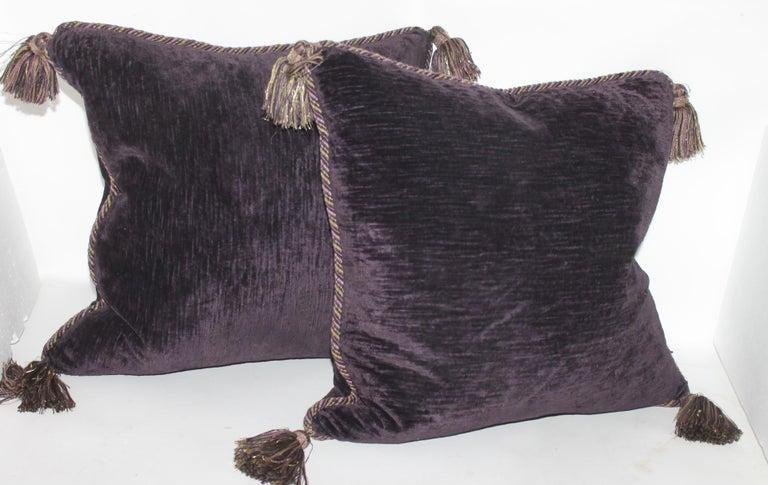 Edwardian Vintage Purple Velvet Pillows /Pair For Sale