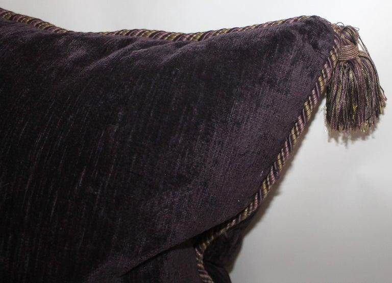 American Vintage Purple Velvet Pillows /Pair For Sale