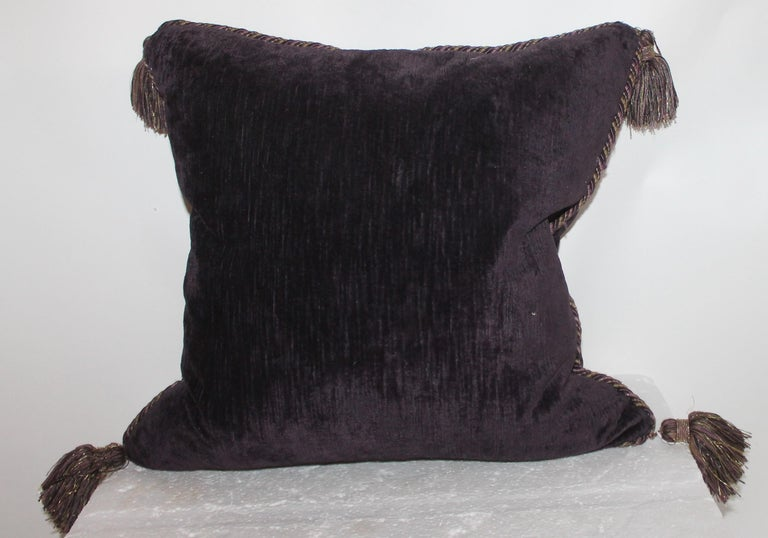 Hand-Crafted Vintage Purple Velvet Pillows /Pair For Sale