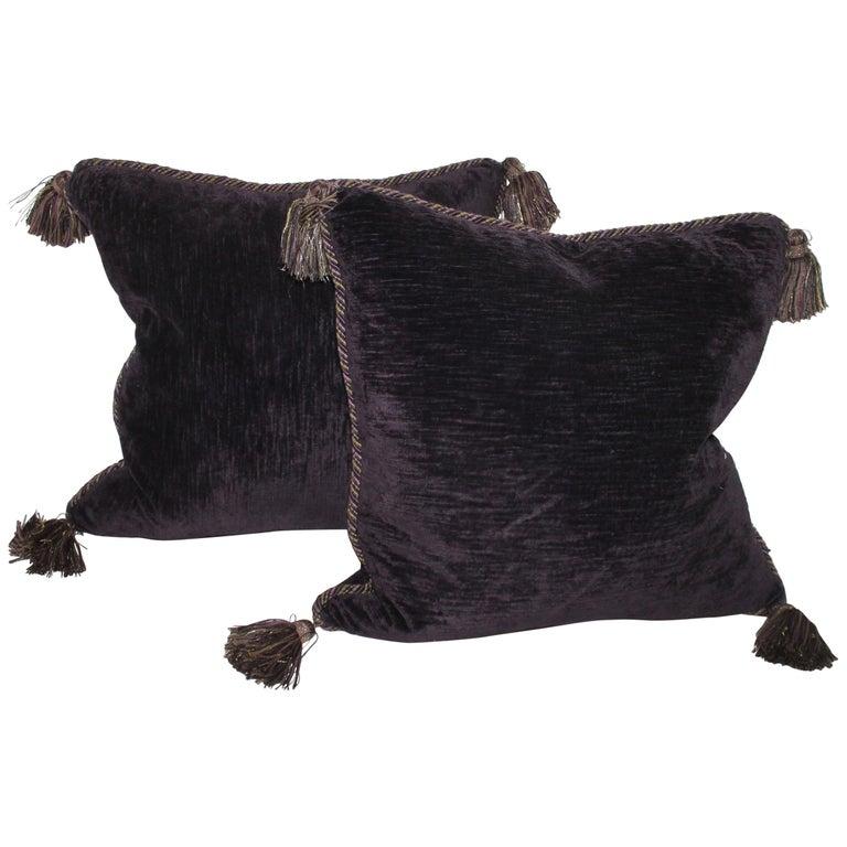 Vintage Purple Velvet Pillows /Pair For Sale