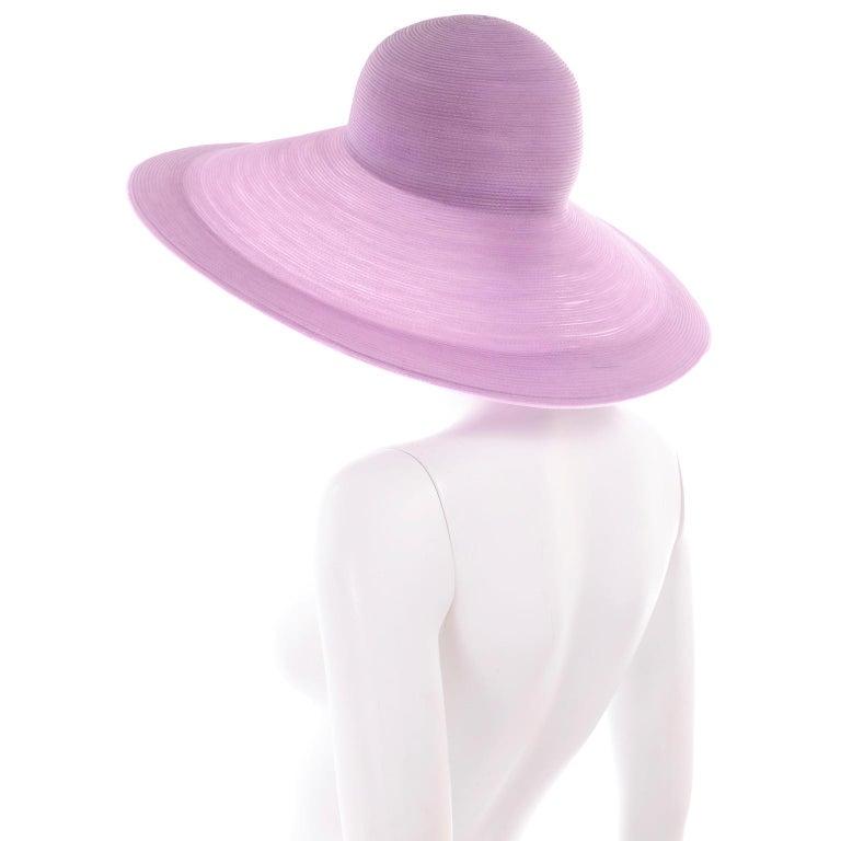 Women's Vintage Purple Woven Patricia Underwood Wide Brim Sun Hat For Sale