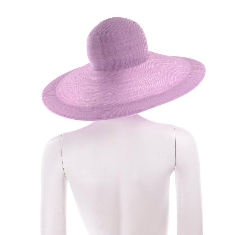 Vintage Purple Woven Patricia Underwood Wide Brim Sun Hat For Sale 1