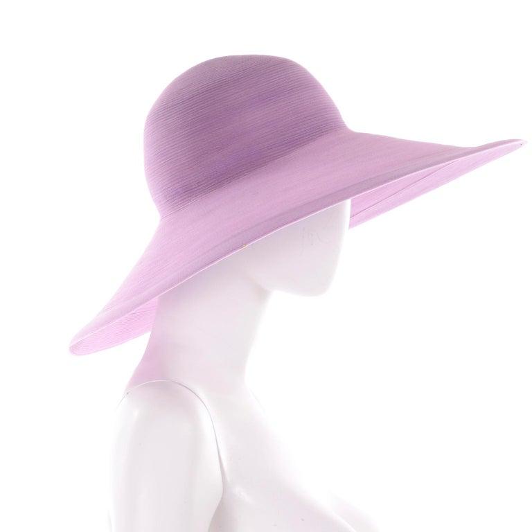 Vintage Purple Woven Patricia Underwood Wide Brim Sun Hat For Sale 2