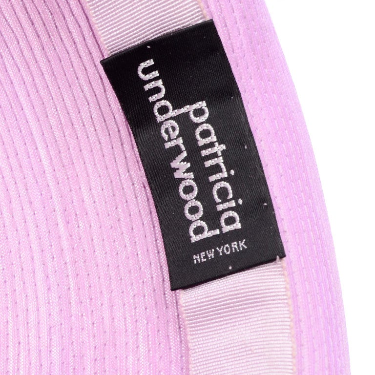 Vintage Purple Woven Patricia Underwood Wide Brim Sun Hat For Sale 3