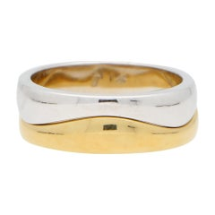 Vintage Puzzle Band Ring Set in 18k Yellow and White Gold