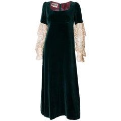 Vintage Quad Green Velvet Gown