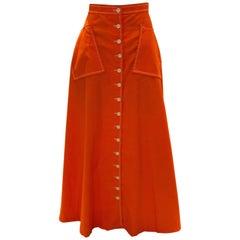 Vintage Quad Orange Long Skirt