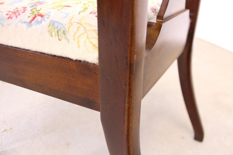 Vintage Queen Anne Cherry Floral Dining Armchair For Sale 6