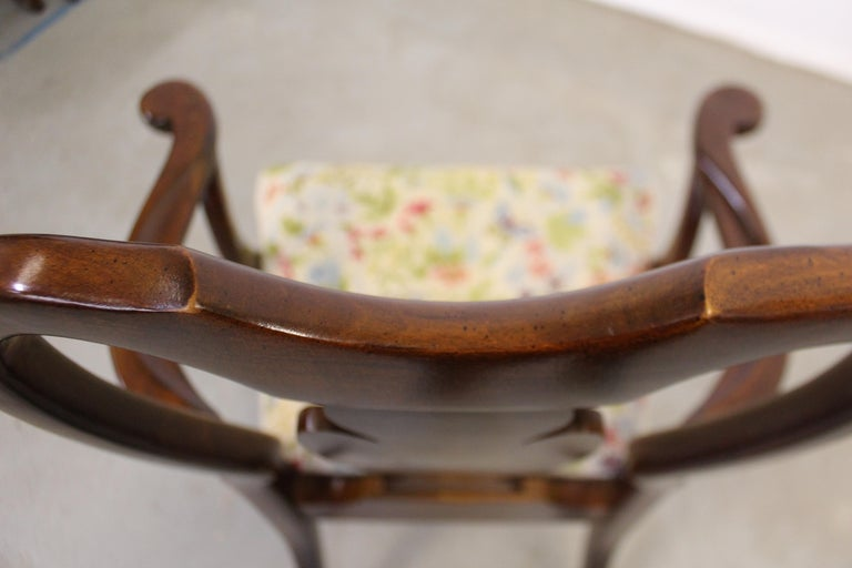 Vintage Queen Anne Cherry Floral Dining Armchair For Sale 7