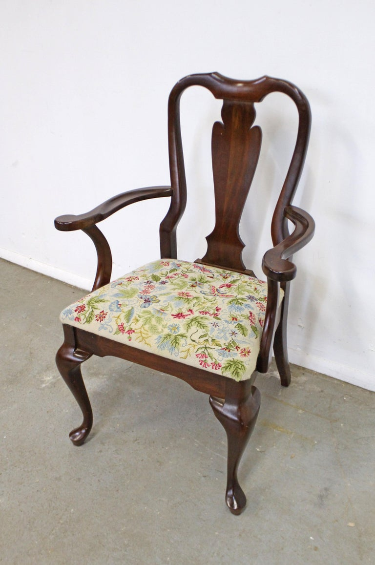 American Vintage Queen Anne Cherry Floral Dining Armchair For Sale