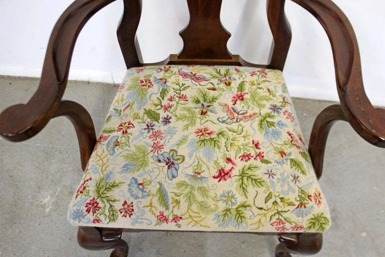 Vintage Queen Anne Cherry Floral Dining Armchair In Good Condition For Sale In Wilmington, DE