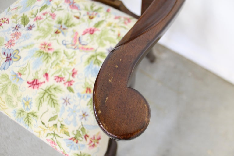 Late 20th Century Vintage Queen Anne Cherry Floral Dining Armchair For Sale