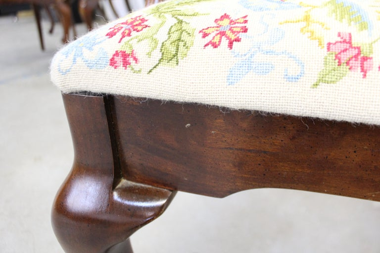 Vintage Queen Anne Cherry Floral Dining Armchair For Sale 3