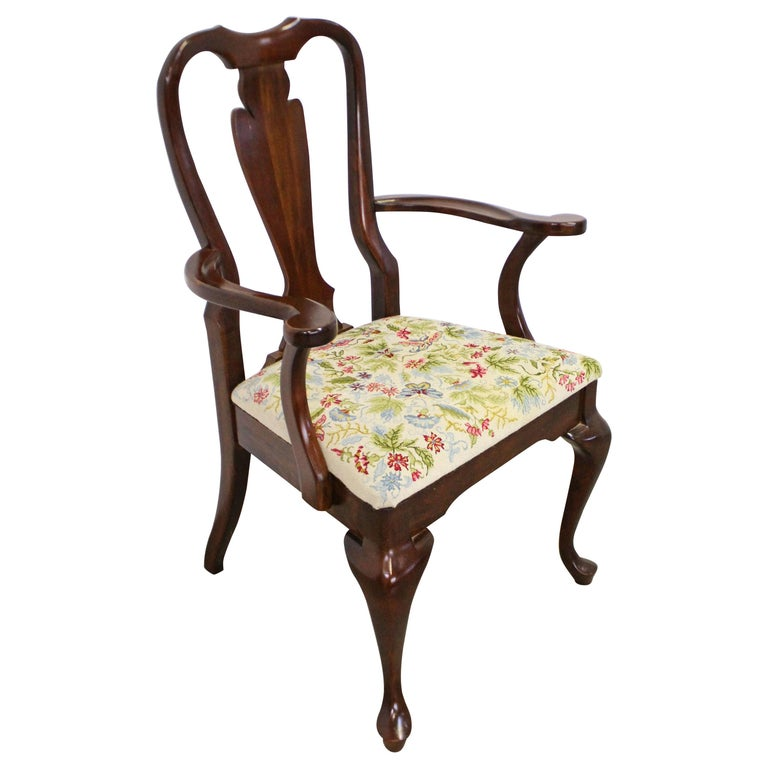 Vintage Queen Anne Cherry Floral Dining Armchair For Sale