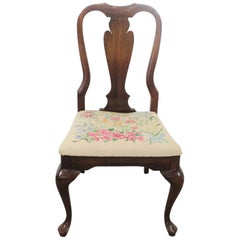 Vintage Queen Anne Cherry Floral Side Dining Chair