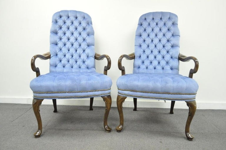 Vintage Queen Anne Ethan Allen Blue Tufted Library Office