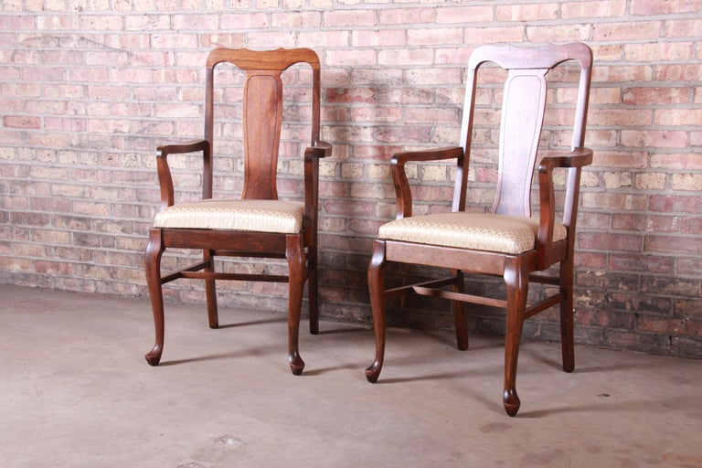 Upholstery Vintage Queen Anne Mahogany Armchairs, Pair For Sale