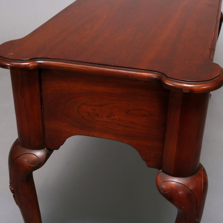 Carved Vintage Queen Anne Style Mahogany Sofa Table by Harden, 20th Century For Sale