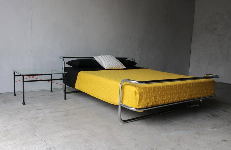 Post-Modern Vintage Queen Chrome Bed by Ikea For Sale