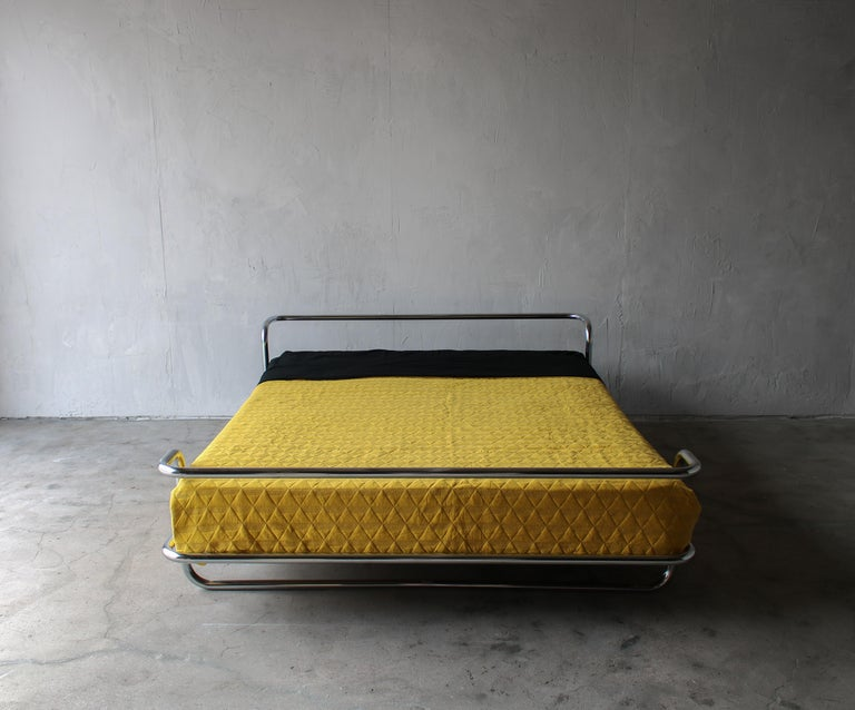 Vintage Queen Chrome Bed by Ikea For Sale 1