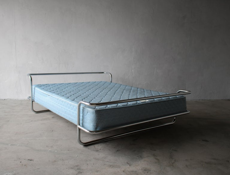 Vintage Queen Chrome Bed by Ikea For Sale 2