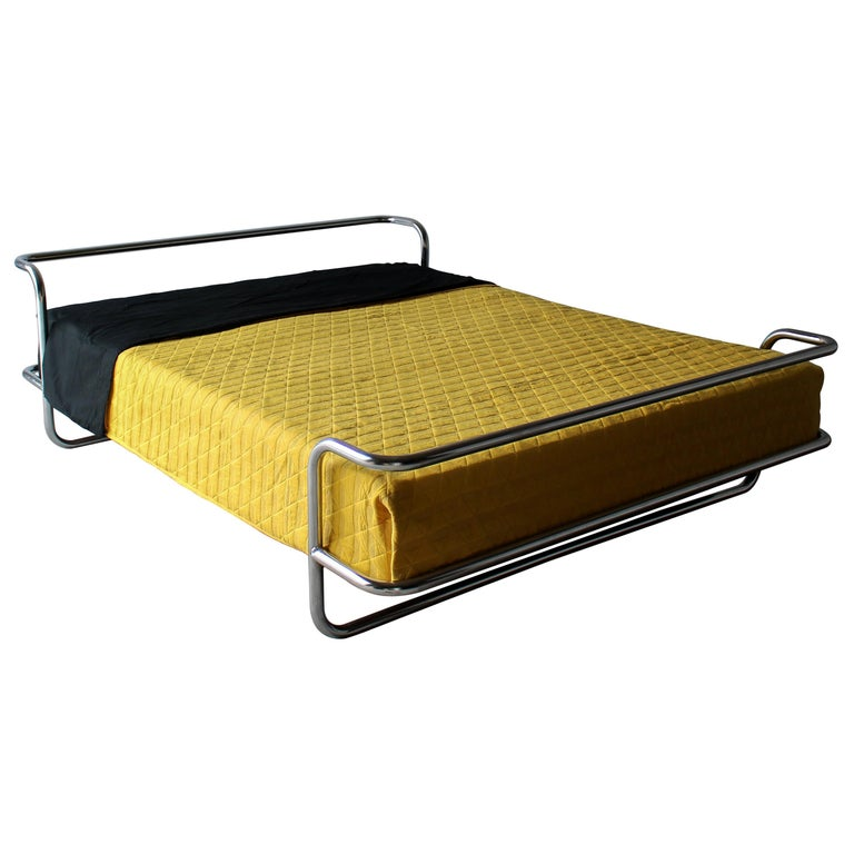 Vintage Queen Chrome Bed by Ikea For Sale