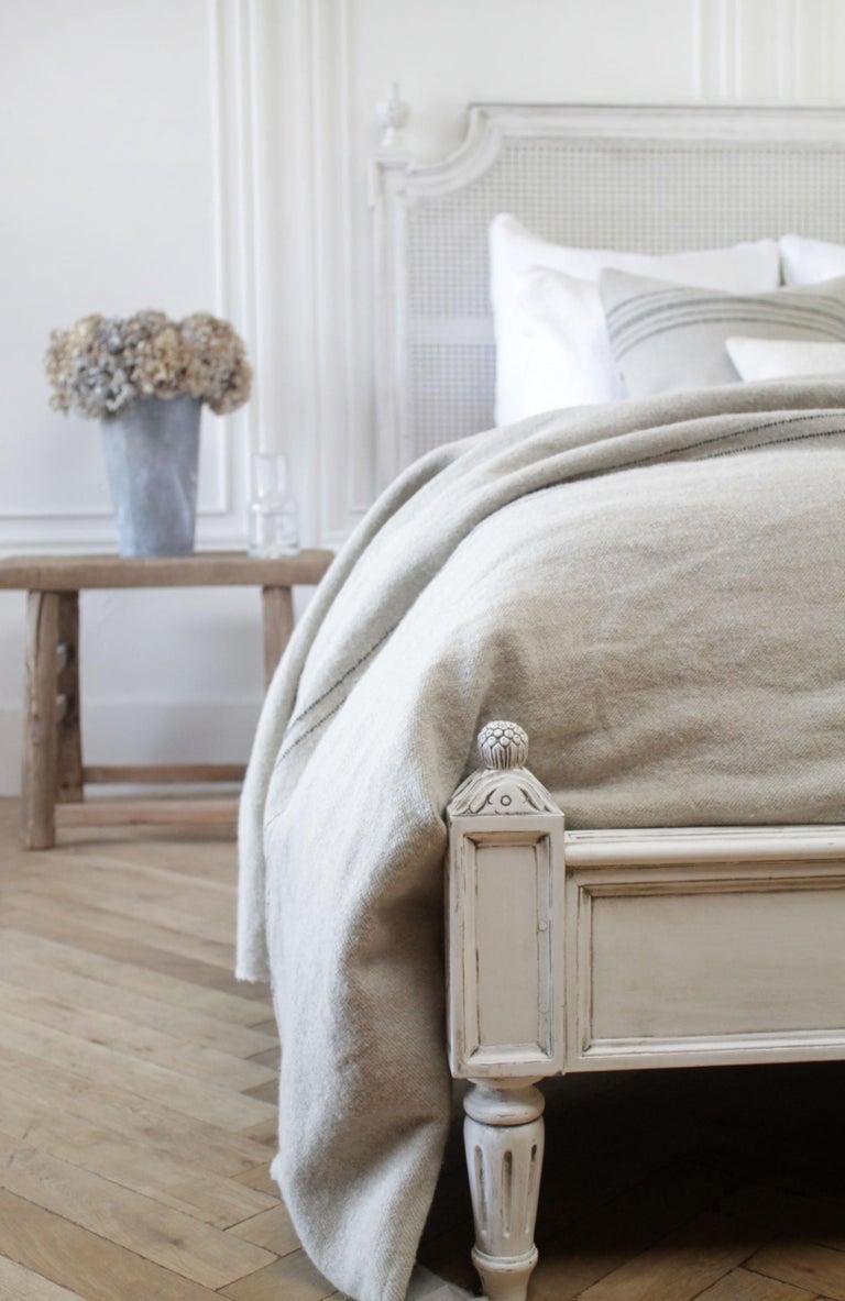 Vintage Queen Louis XVI Style Platform Cane Bed For Sale 5