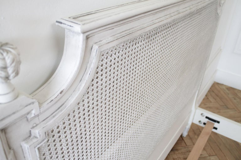 20th Century Vintage Queen Louis XVI Style Platform Cane Bed For Sale