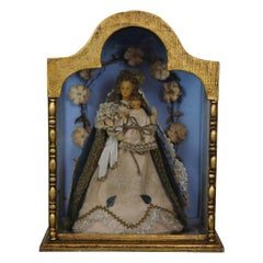Vintage Queen of Heaven Madonna & Child Shrine Celluloid Doll Display Curio Case