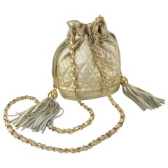 Vintage Quilted Gold Leather Hobo Handbag With Chain Handle