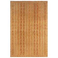 Vintage Qum Beige Brown Geometric-Floral Wool Persian Rug