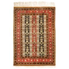 Vintage Qum Brown Beige and Red Silk Persian Rug
