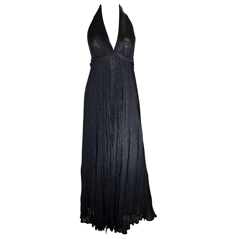 Vintage Quorum Black Lace Halter Neck Dress