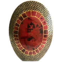 Vintage R & Y Augousti Ovoid Vase in Solid Bronze and Exotic Mosaic Pen-Shell