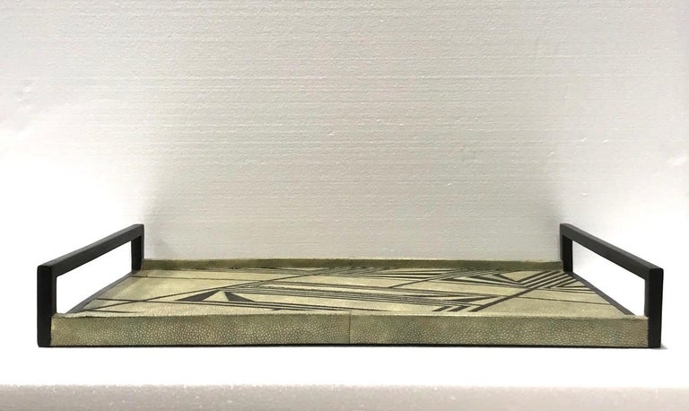 Vintage R & Y Augousti Shagreen Tray with Geometric Design in Taupe and Black For Sale 3