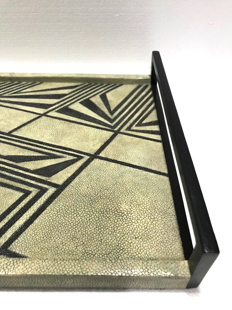 Vintage R & Y Augousti Shagreen Tray with Geometric Design in Taupe and Black For Sale 4