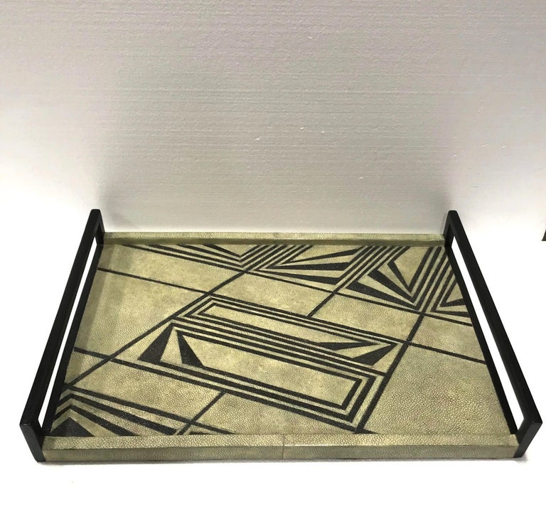 Organic Modern Vintage R & Y Augousti Shagreen Tray with Geometric Design in Taupe and Black For Sale