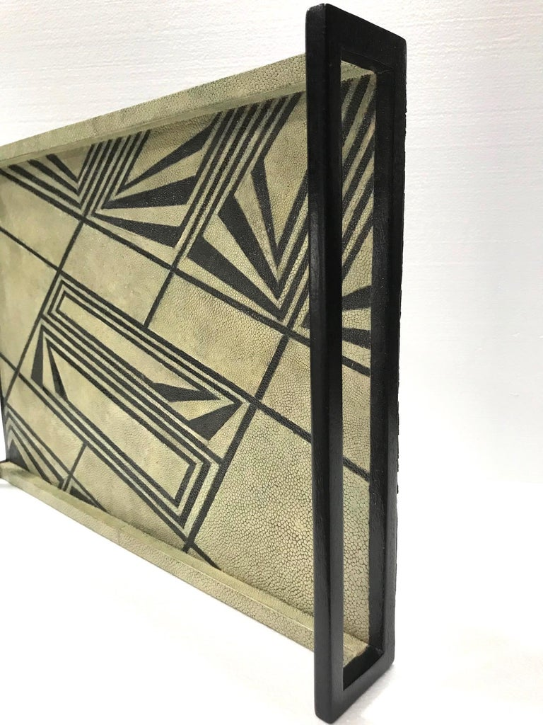 Ebonized Vintage R & Y Augousti Shagreen Tray with Geometric Design in Taupe and Black For Sale