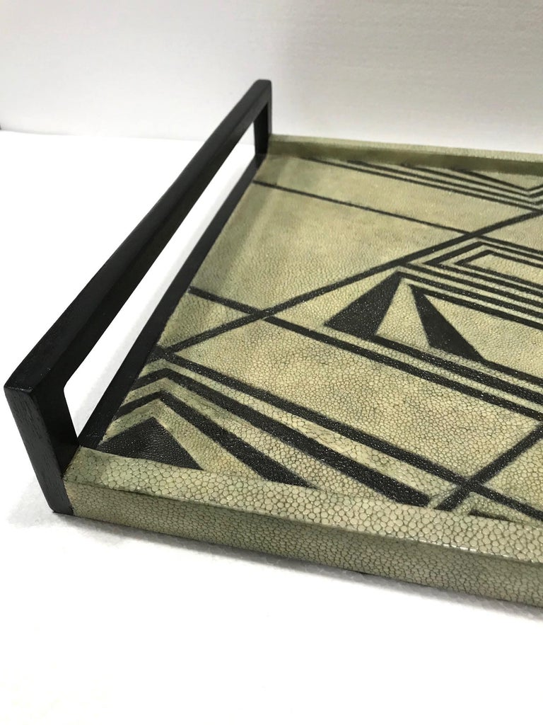 Vintage R & Y Augousti Shagreen Tray with Geometric Design in Taupe and Black In Good Condition For Sale In Miami, FL
