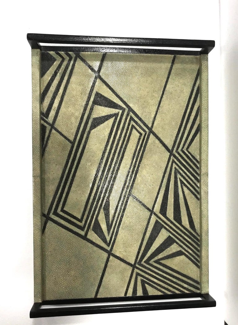 Contemporary Vintage R & Y Augousti Shagreen Tray with Geometric Design in Taupe and Black For Sale