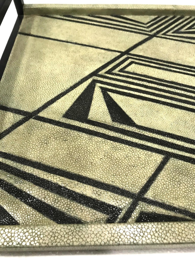 Vintage R & Y Augousti Shagreen Tray with Geometric Design in Taupe and Black For Sale 1