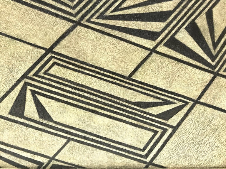 Vintage R & Y Augousti Shagreen Tray with Geometric Design in Taupe and Black For Sale 2