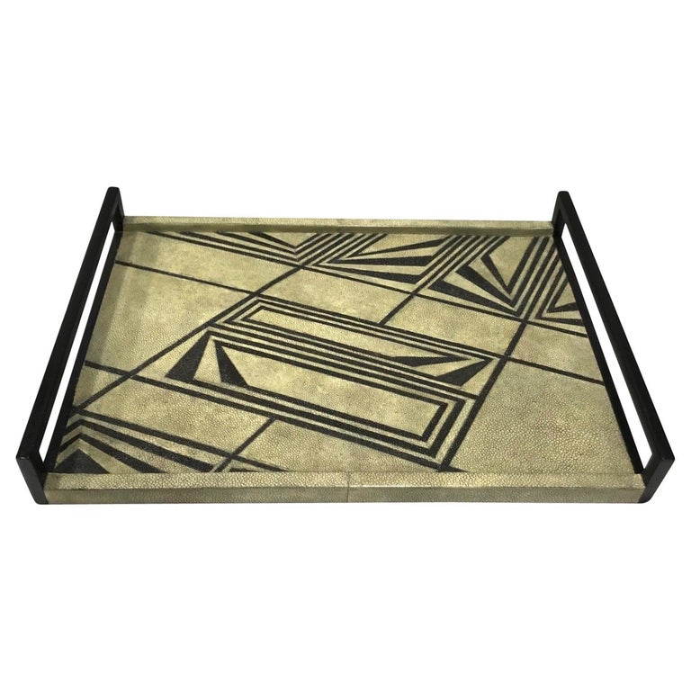 Vintage R & Y Augousti Shagreen Tray with Geometric Design in Taupe and Black For Sale
