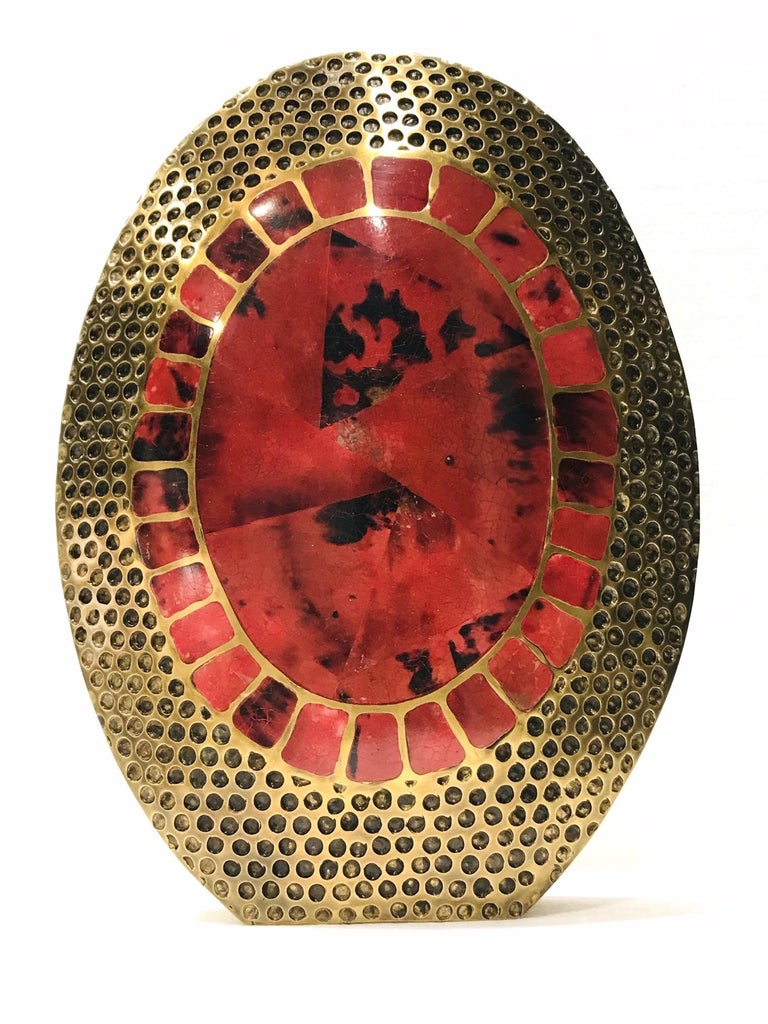 French Vintage R & Y Augousti Solid Bronze Vase with Pen Shell Inlays in Red and Black For Sale