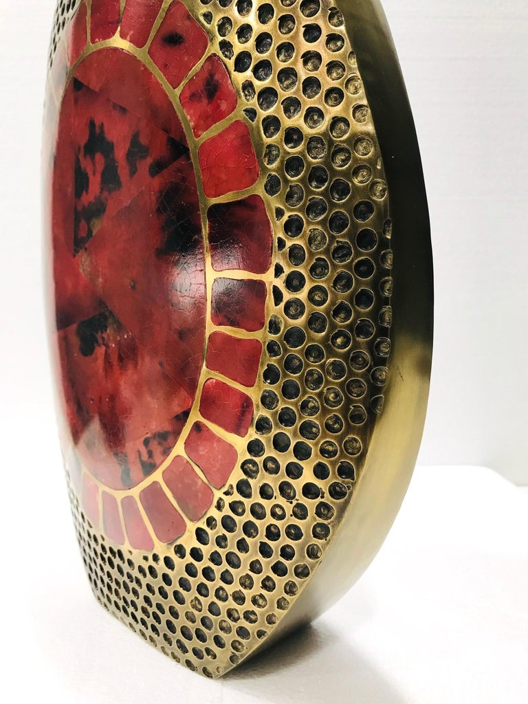 Hand-Crafted Vintage R & Y Augousti Solid Bronze Vase with Pen Shell Inlays in Red and Black For Sale
