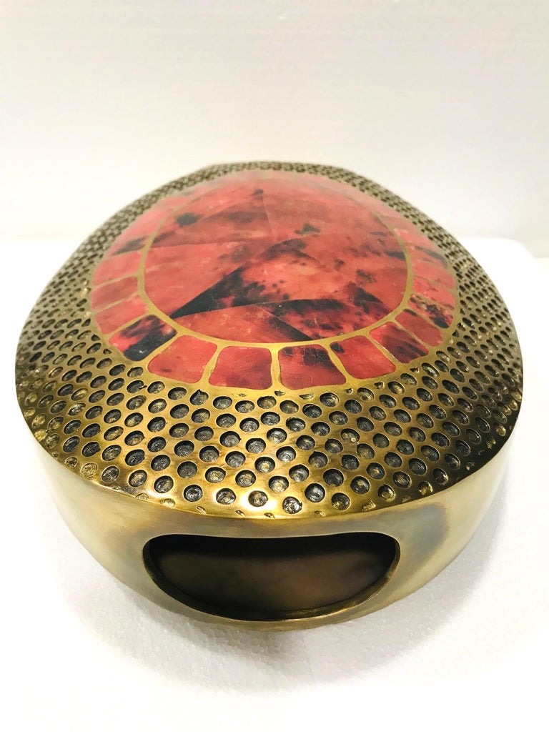 Contemporary Vintage R & Y Augousti Solid Bronze Vase with Pen Shell Inlays in Red and Black For Sale