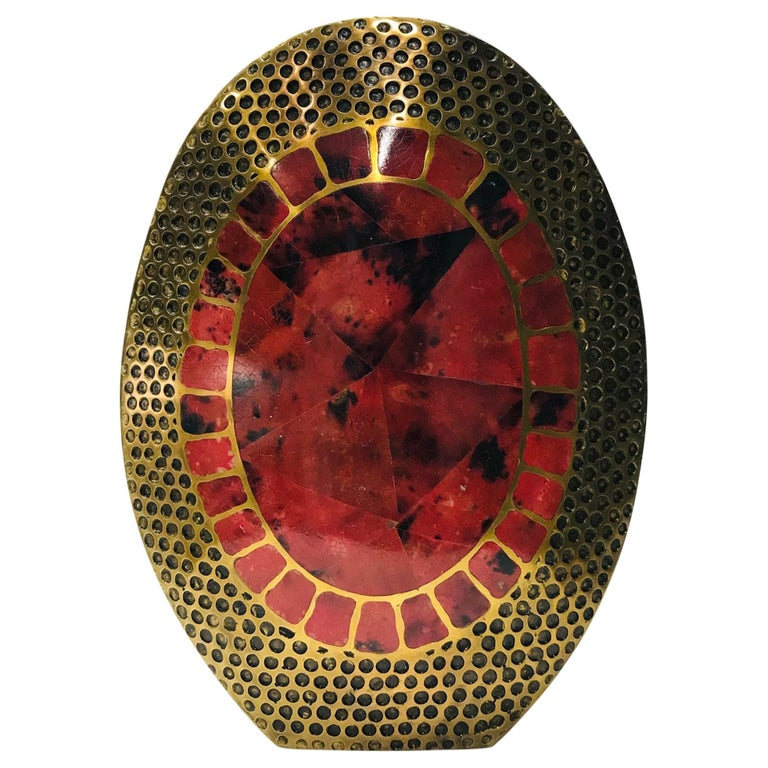 Vintage R & Y Augousti Solid Bronze Vase with Pen Shell Inlays in Red and Black For Sale