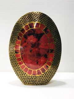 Vintage R & Y Augousti Solid Bronze Vase with Pen Shell Inlays in Red and Black