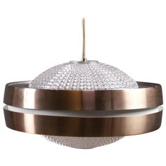 Vintage RAAK Ufo Shaped Pendant Light B-1044 in Glass and Anodised Aluminum